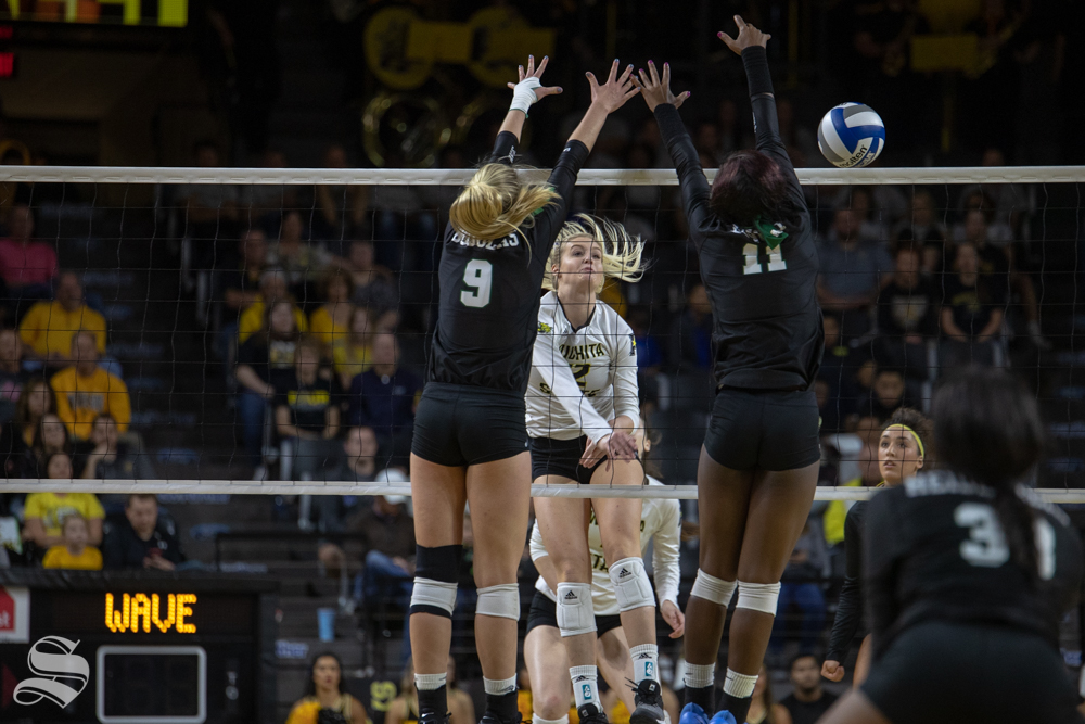 Wichita+State%27s+Regan+Stiawalt+spikes+over+Tulane%27s+defense+during+their+game+on+Friday+evening+at+Koch+Arena.+%28Sept.+21%2C+2018%29