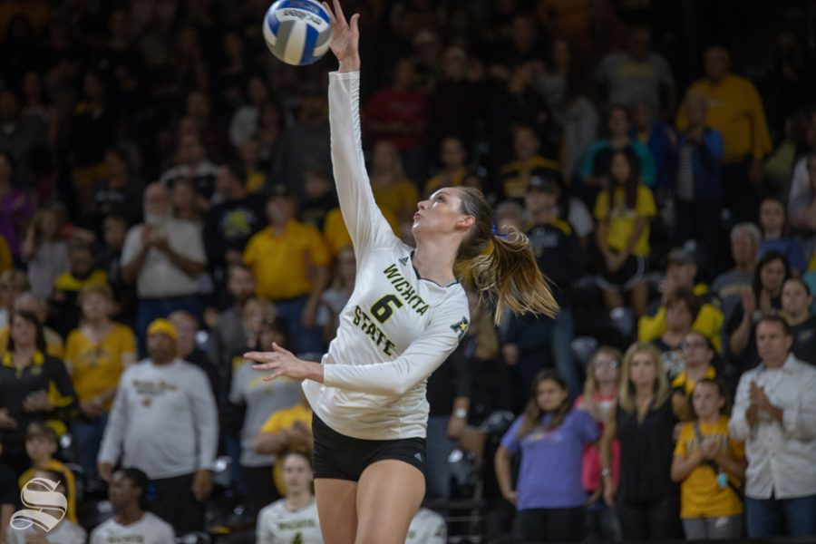 Wichita+State+middle+blocker+sustained+injury+in+the+fourth+set+of+Friday%27s+home-opener.+She+will+miss+six+weeks+of+play+with+a+broken+thumb.+