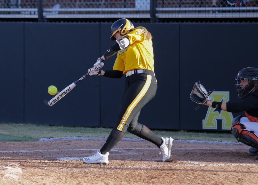 Wichita State outfielder Bailee Nickerson records a hit against Oklahoma State. Wichita State lost to Oklahoma State on the game held Sept. 27, 2018 at Wilkins Stadium.