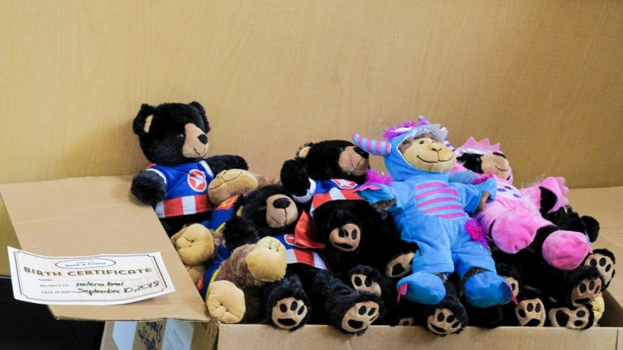 After the stuffed animals has been made,  they are packed, ready for the youth living with cancer.