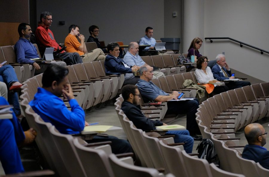 Wichita State Engineering staffs and faculties attend the meeting for the dean of the College of Engineering.