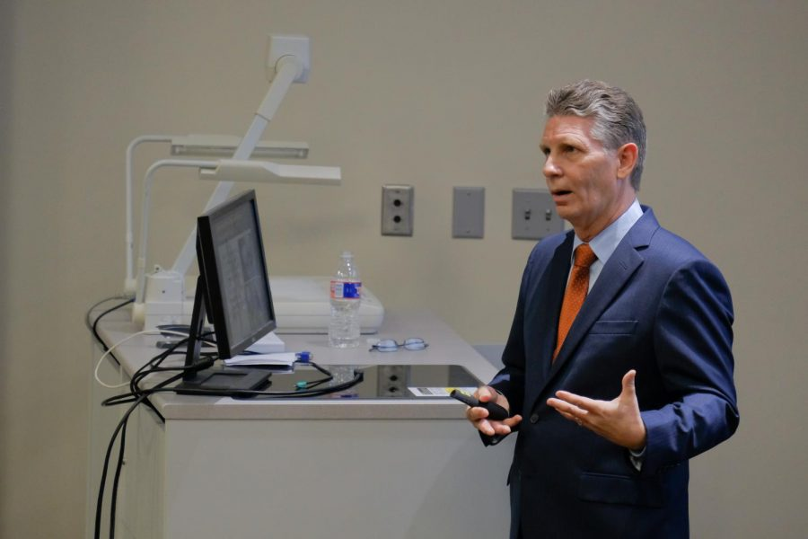 John Woolschlager, a finalist for dean of the College of Engineering, speaks to staffs and faculties on Tuesday, Sept. 25, 2018. His current position is the Director of the Emergent Technologies Institute, Backe chair Eminent School Professor and Director of Engineering Graduate Programs at Florida Gulf Coast University.