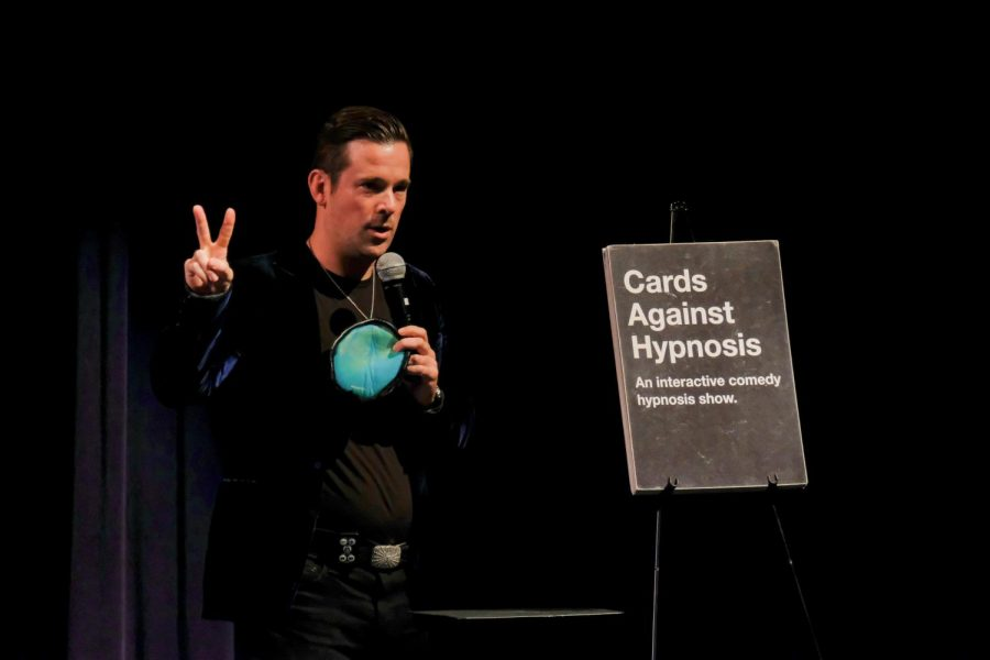 David Hall is a comedy hypnosist who performs an interactive comedy show called Cards Againt Hypnosis at CAC Theater, on Friday, Sep. 7, 2018.