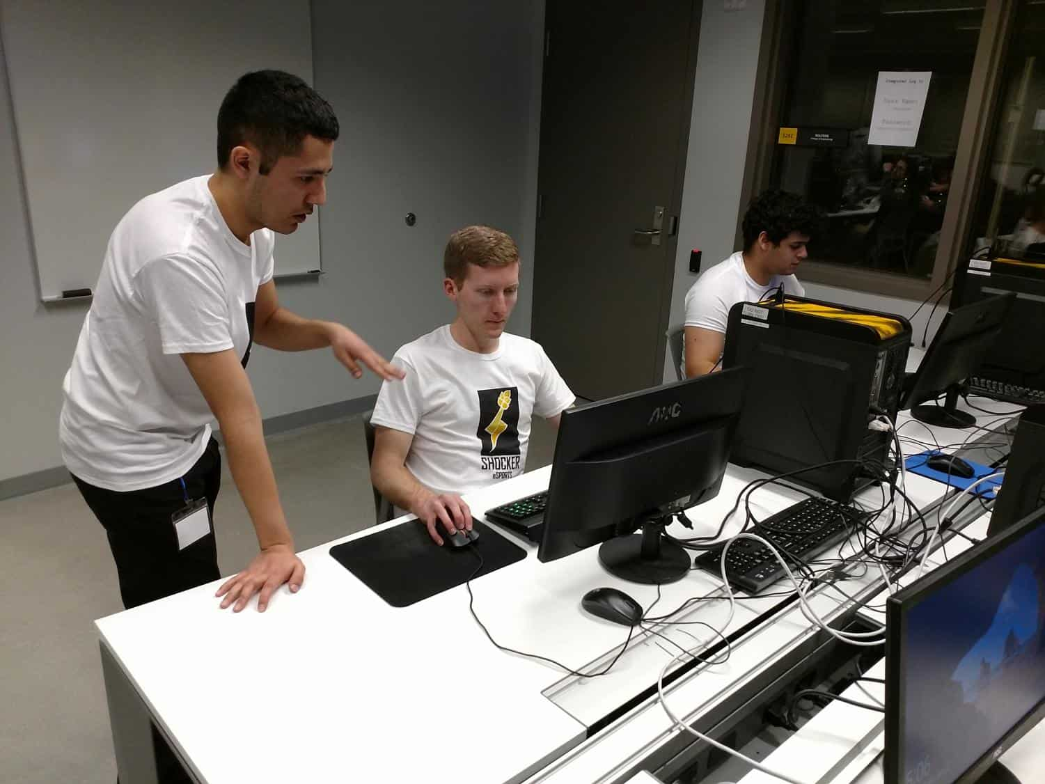 Members of Wichita State's League of Legends team, Alpha Shocks, warm up before a tournament held at the Experiential Engineering Building. Left to right: Julio Banuelos, Dylan Victor, Chandler Hoskins. (2017)