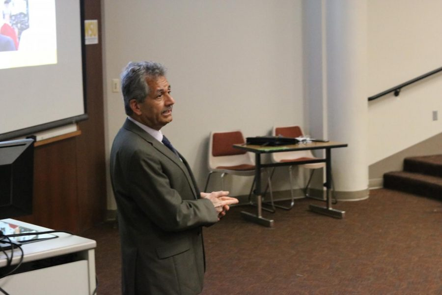 Hamid Hefazi, one of four finalists for dean of the College of Engineering at WSU, speaks to faculty and staff about his qualifications for the position. Hefazi currently serves as the Aerospace Engineering Department head at Florida Institute of Technology.