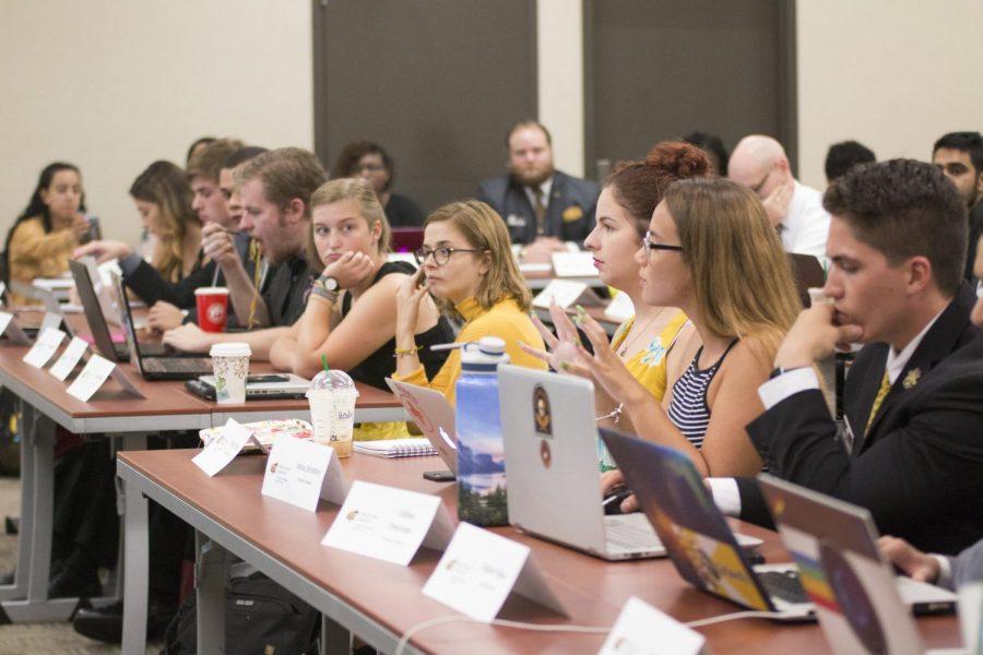 Senators ask questions during the SGA meeting Wednesday, Sept. 5, 2018.