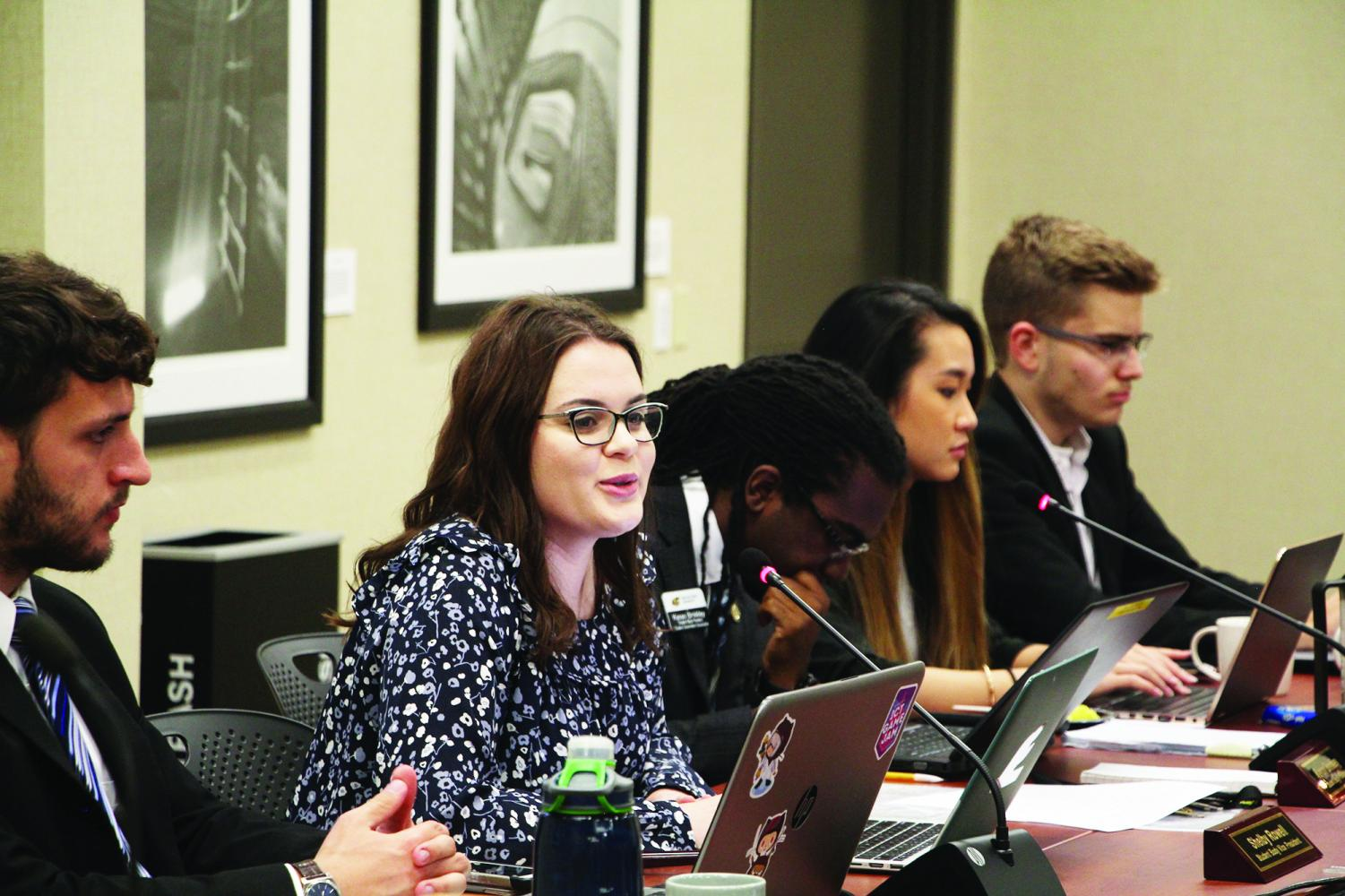 Student Body Vice President Shelby Rowell speaks during officer reports at Wednesday's Senate meeting.