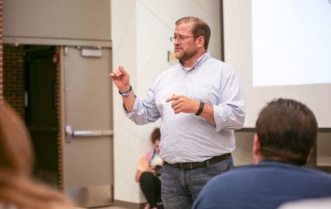 Democratic Congressional candidate James Thompson visits Wichita State for meet-and-greet