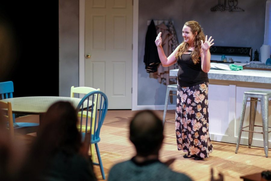 A senior majoring in Theather and minoring in Art and Design, Mariah Clements, is the director of The Search. She gave thanks to the students who came to support in the preview night.