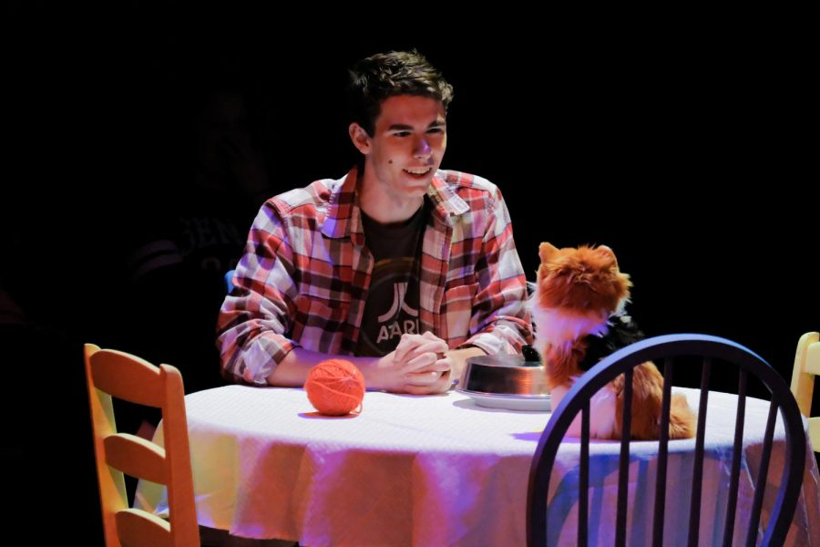 TJ Wade, a sophomore majoring in Fine Arts with emphasis in Theater Performance, plays as Ned. He had a dinner with his kitty wife.
