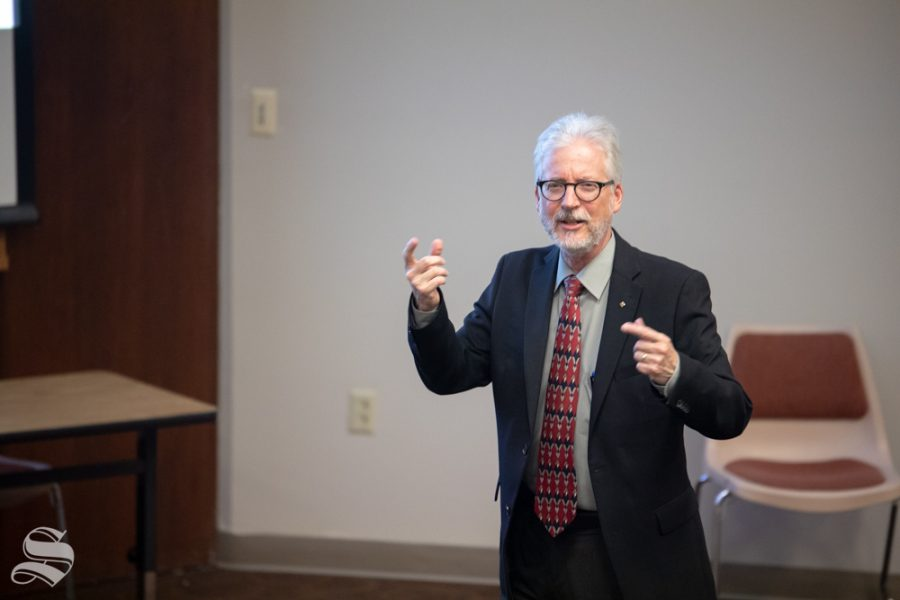 Chuck Bunting speaks to students, professors, and staff during a public forum on Oct. 1, 2018 in Devlin Hall. Bunting is currently the associate dean of research at Oklahoma State University.