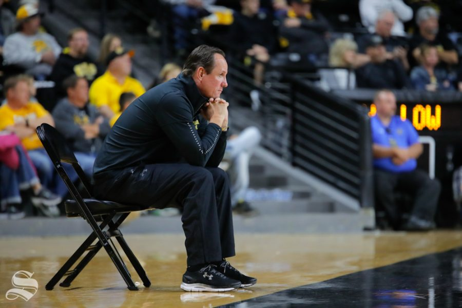 Wichita+State%27s+Head+Coach+Gregg+Marshall+watches+his+players+during+the+Black+and+Yellow+Scrimmage+at+Koch+Arena+on+Oct.+6%2C+2018.