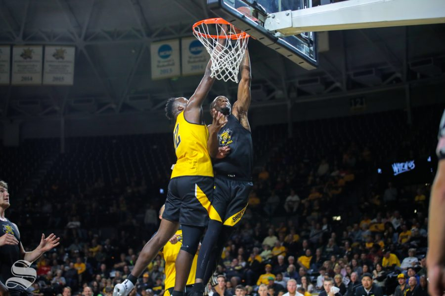 Wichita+State%27s+Markis+McDuffie+goes+up+for+a+basket+during+the+Black+and+Yellow+Scrimmage+at+Koch+Arena+on+Oct.+6%2C+2018.