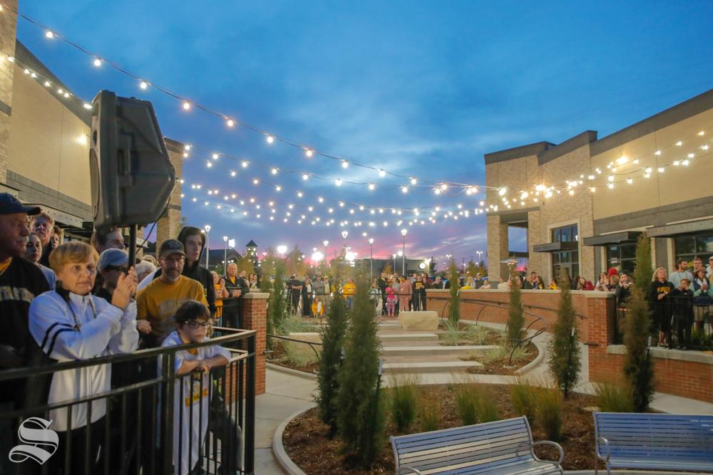 Wichita State Fan's crowd around Braeburn Square during the pep rally held on Monday night. (Joseph Barringhaus/The Sunflower)
