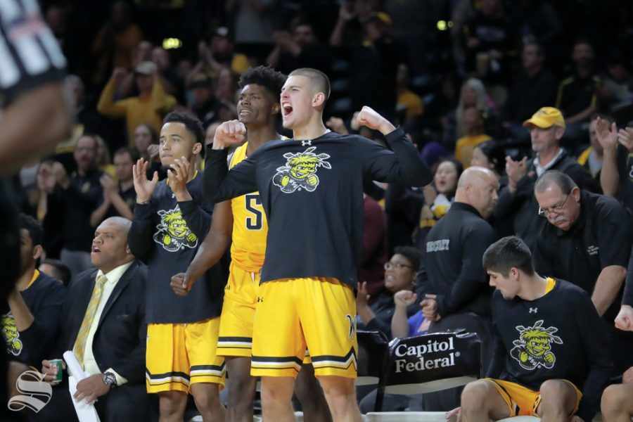 Wichita+State%27s+Erik+Stevenson+cheers+on+his+teammates+during+their+game+against+Catawba+on+Oct.+30%2C+2018+at+Koch+Arena.