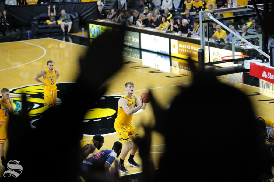 Wichita+State%27s+Asbj%C3%B8rn+Midtgaard+shoots+a+free+throw+during+their+game+against+Catawba+on+Oct.+30%2C+2018+at+Koch+Arena.