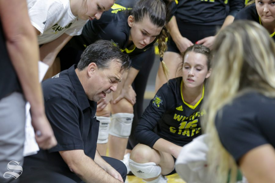 Wichita States Head Coach, Chris Lamb, talks to his players during their game against Cincinnati on Oct. 15, 2018.