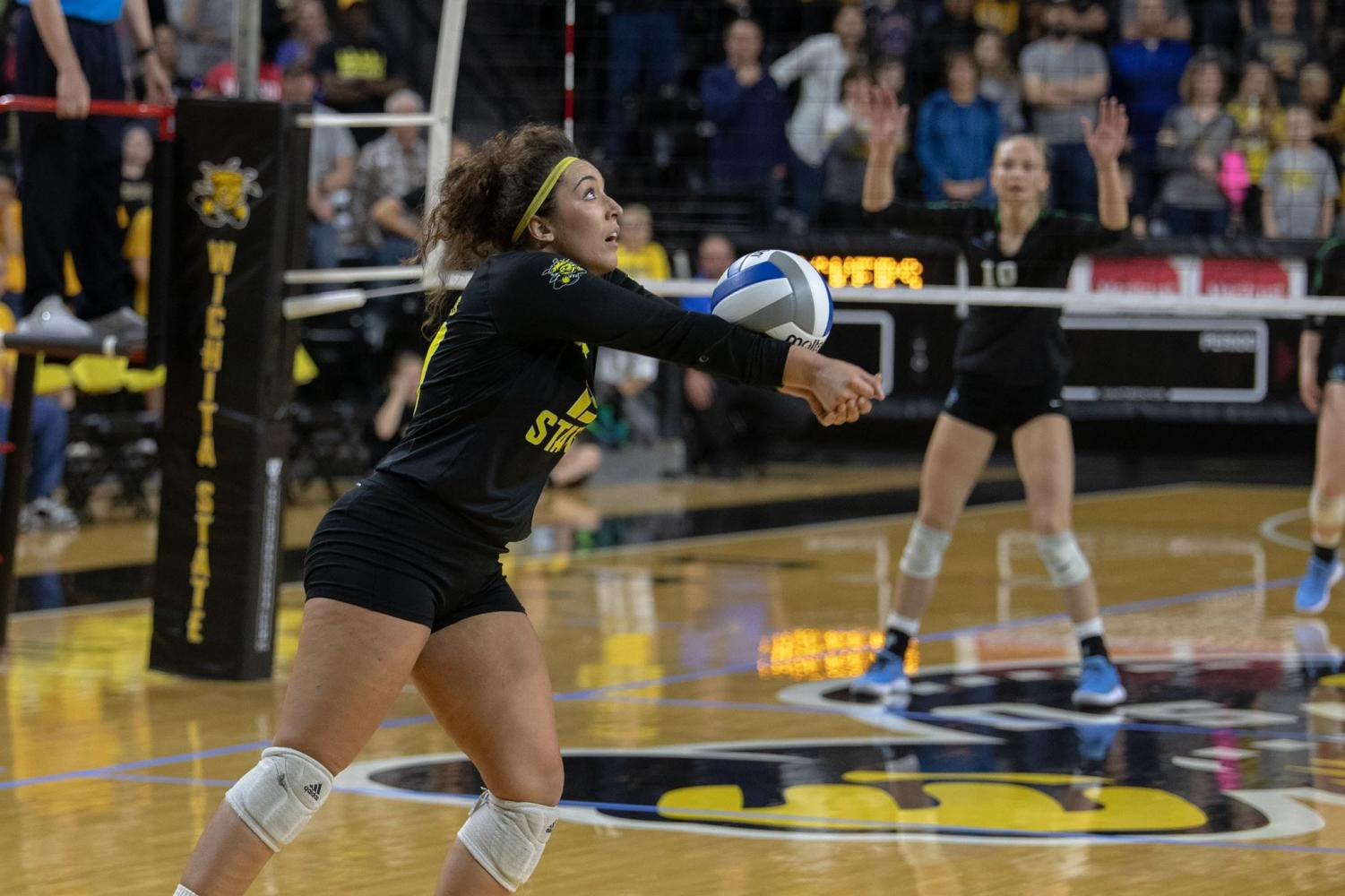 Wichia State's Giorgia Civita digs the ball during their game against Tulane on Sept. 21, 2018 at Koch Arena.