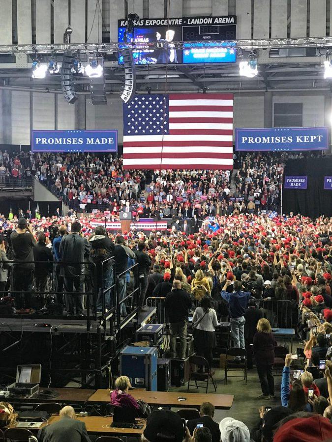 President Donald Trump rallied on behalf of Republican gubernatorial nominee Kris Kobach Saturday in Topeka's Kansas Expocentre.