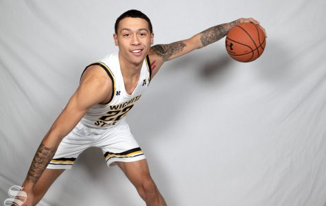 Wichita State's Chance Moore poses during media day on Oct. 16, 2018.
