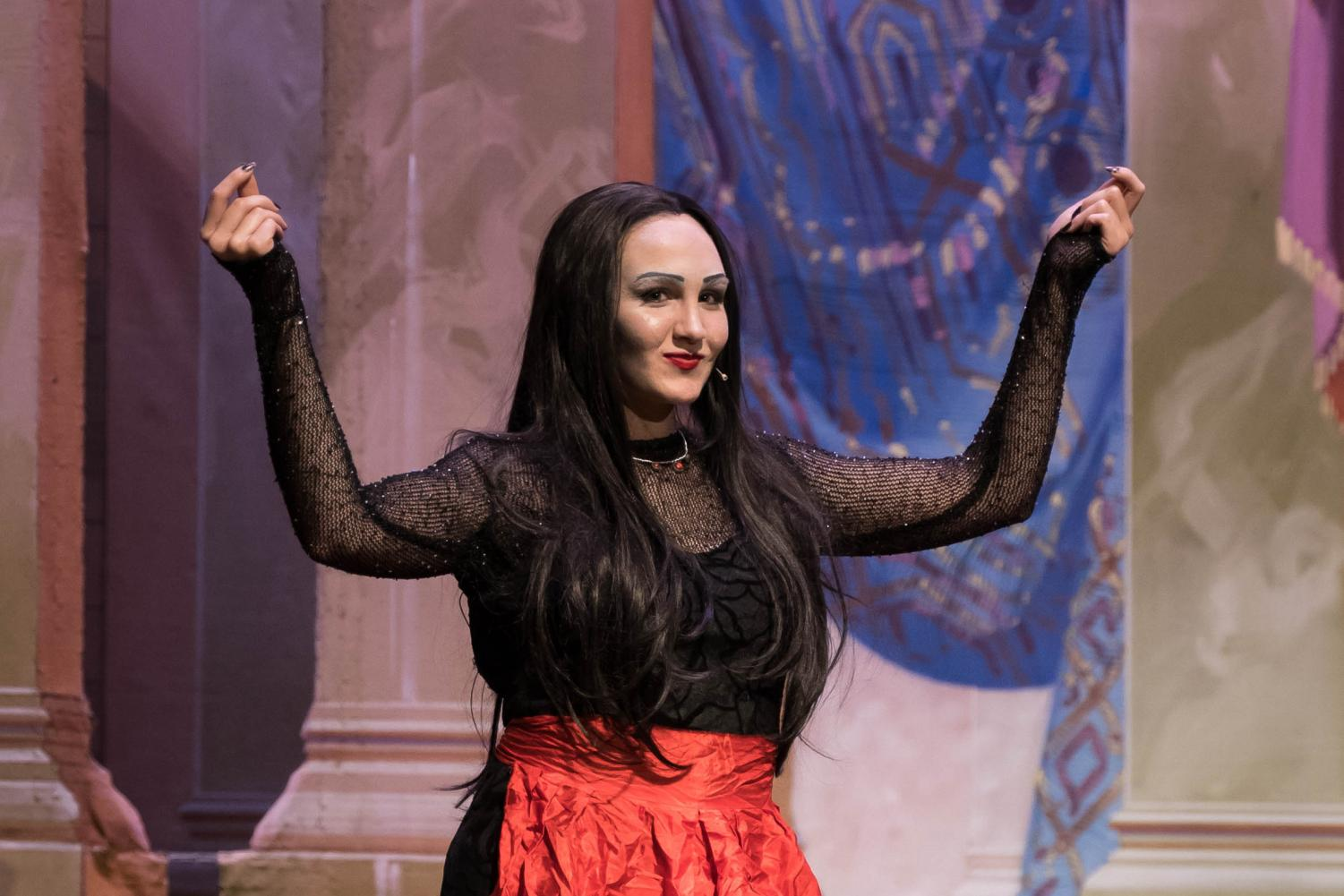 Madi Laughlin (Sophomore in Engineering Technology) plays the role of Morticia Addams in Wichita Signature Theatre's The Addams Family musical.