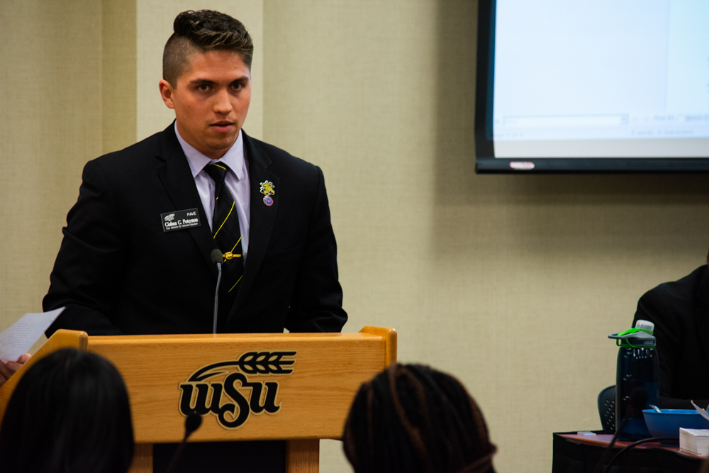 Business Senator Ciaban Peterson co-authored a resolution stating concerns that many student veterans have not had their paperwork processed by WSU and did not receive their GI Bill payments.
