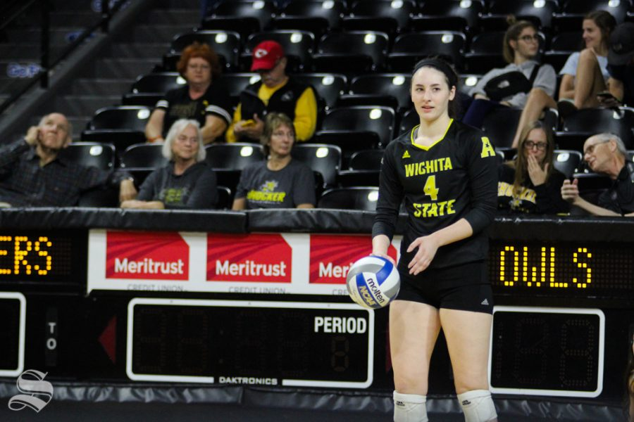 Wichita+State%27s+Kora+Kauling+readys+herself+for+a+serve+at+their+game+against+Temple+on+Oct.+28+at+Koch+Arena.