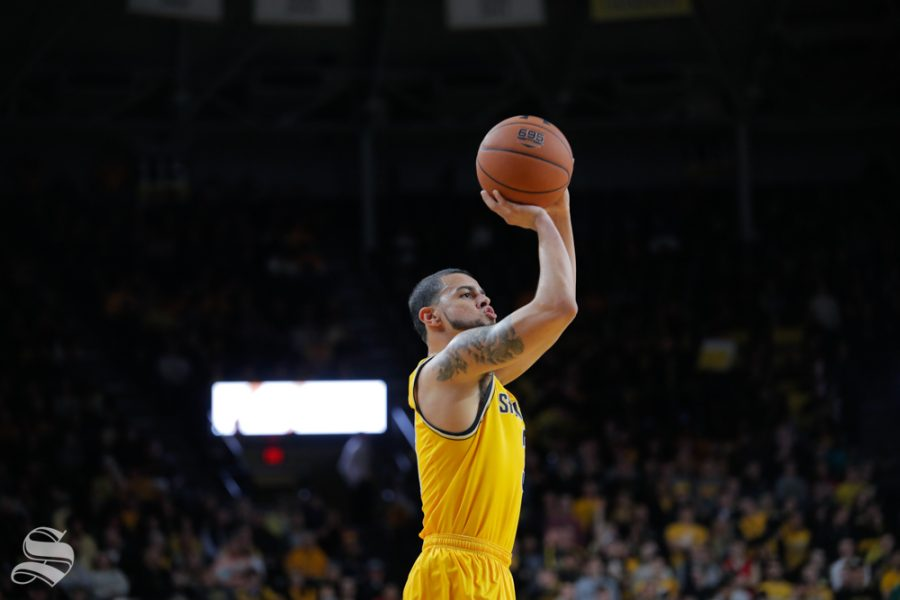 Wichita+State%27s+Ricky+Torres+takes+a+shot+during+their+game+against+Catawba+on+Oct.+30%2C+2018+at+Koch+Arena.