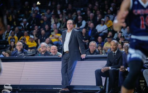 Wichita State's Head Coach, Gregg Marshall, leans up against the bench during their game against Catawba on Oct. 30, 2018 at Koch Arena.