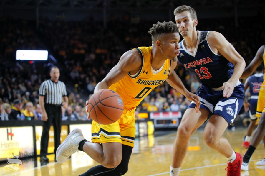 Wichita+State%27s+Dexter+Dennis+drives+towards+the+basket+during+their+game+against+Catawba+on+Oct.+30%2C+2018+at+Koch+Arena.