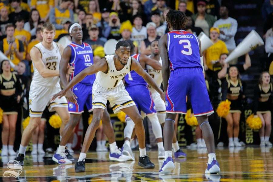Wichita+State%27s+Markis+McDuffie+lines+up+a+player+during+their+game+against+Louisiana+Tech+in+Koch+Arena+on+Nov.+6%2C+2018.