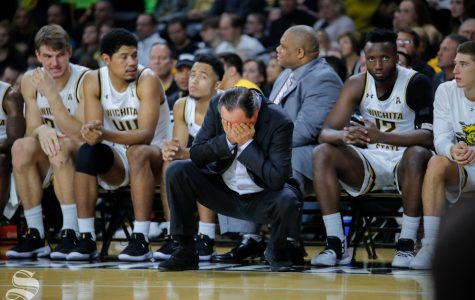Wichita State's head coach, Gregg Marshall, rubs his face after a play during their game against Louisiana Tech in Koch Arena on Nov. 6, 2018.