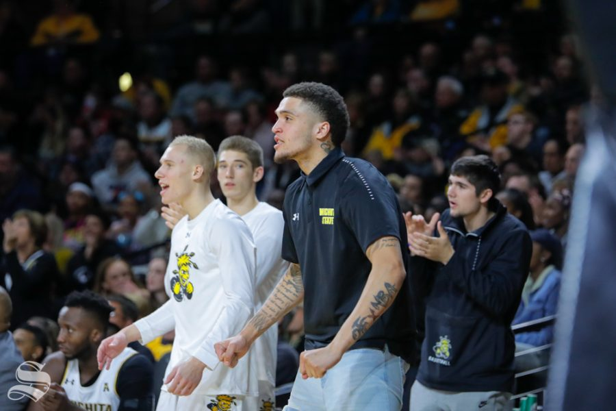 Wichita State's Teddy Allen cheers on his teammate during their game against Louisiana Tech in Koch Arena on Nov. 6, 2018.