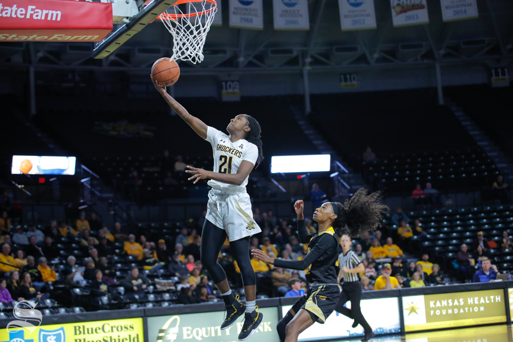 Wichita State's Maya Brewer makes a layup during their game against Arkansas-Pine Bluff on Nov. 7, 2018.