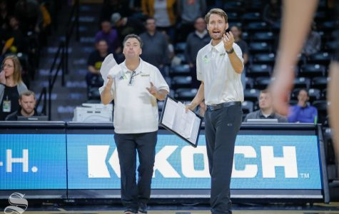Wichita State volleyball coaching staff yells to their players during their game against SMU on Nov. 11, 2018 at Koch Arena.