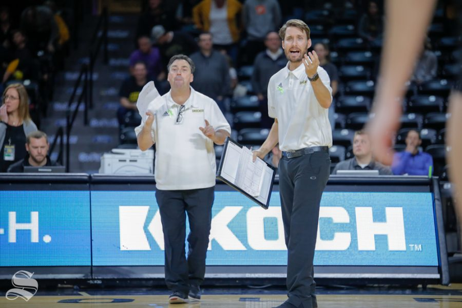 Wichita+State+volleyball+coaching+staff+yells+to+their+players+during+their+game+against+SMU+on+Nov.+11%2C+2018+at+Koch+Arena.