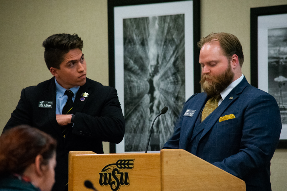 Michael Bearth and Ciaban Peterson prepare to speak to Student Senate about Veteran Affairs. Student Government Association's weekly public Senate meetings are held at 6:30pm on Wednesdays in room 233 on the second floor of the RSC.
