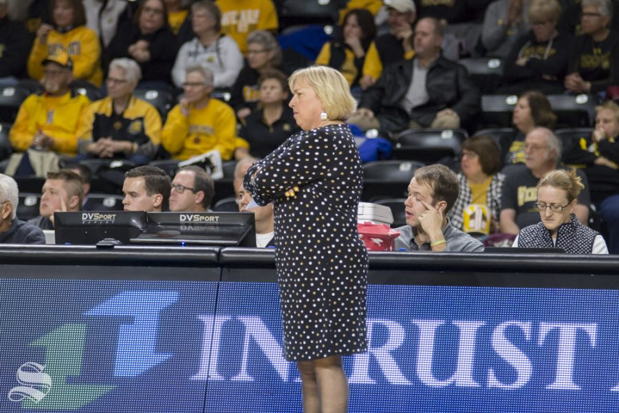 Wichita State head coach Keitha Adams before a time-out during their game against Oklahoma State on Nov. 27, 2018 at Koch Arena.