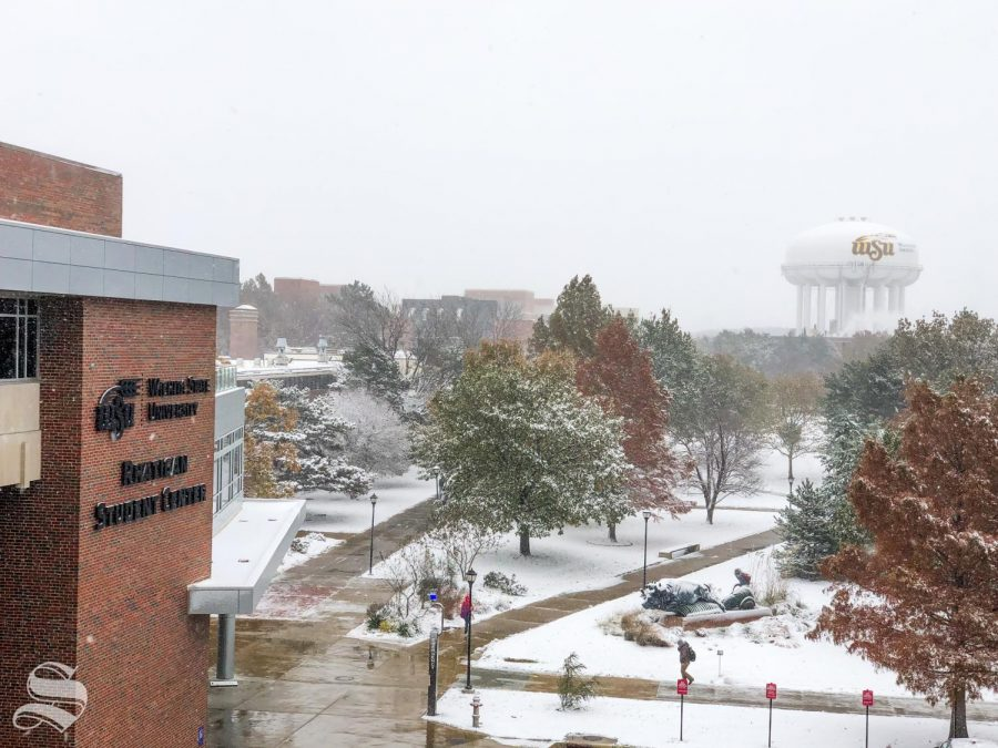 Wichita+State+University+is+open+for+classes+on+Nov.+12%2C+2018%2C+after+receiving+snow+overnight+and+expecting+temperature+to+stay+below+30+degrees+all+day.
