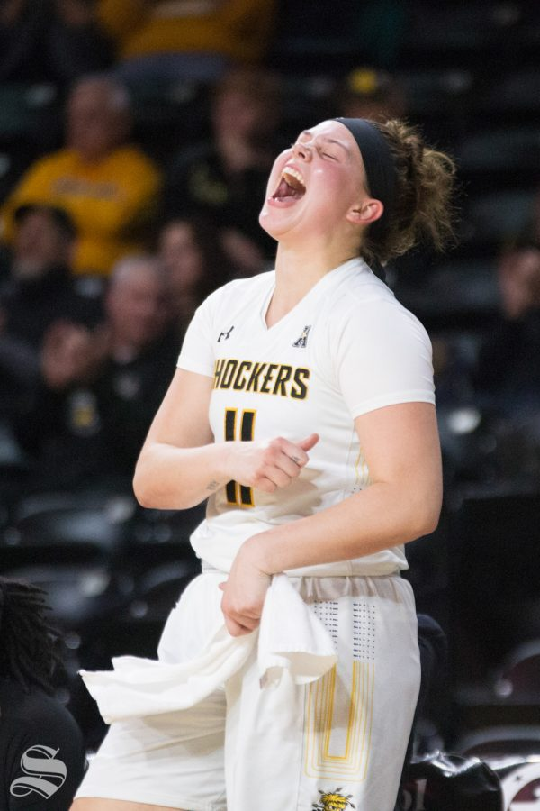 Wichita+State+senior+Sabrina+Lozada-Cabbage+celebrates+from+the+bench+during+the+season+opener+against+Arkansas-Pine+Bluff.