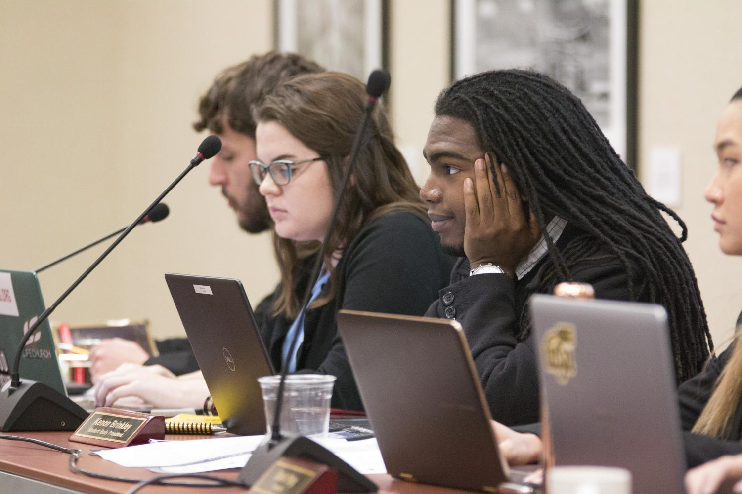 Student Body President Kenon Brinkley listens to questions during the SGA meeting Wednesday, Nov. 14, 2018.