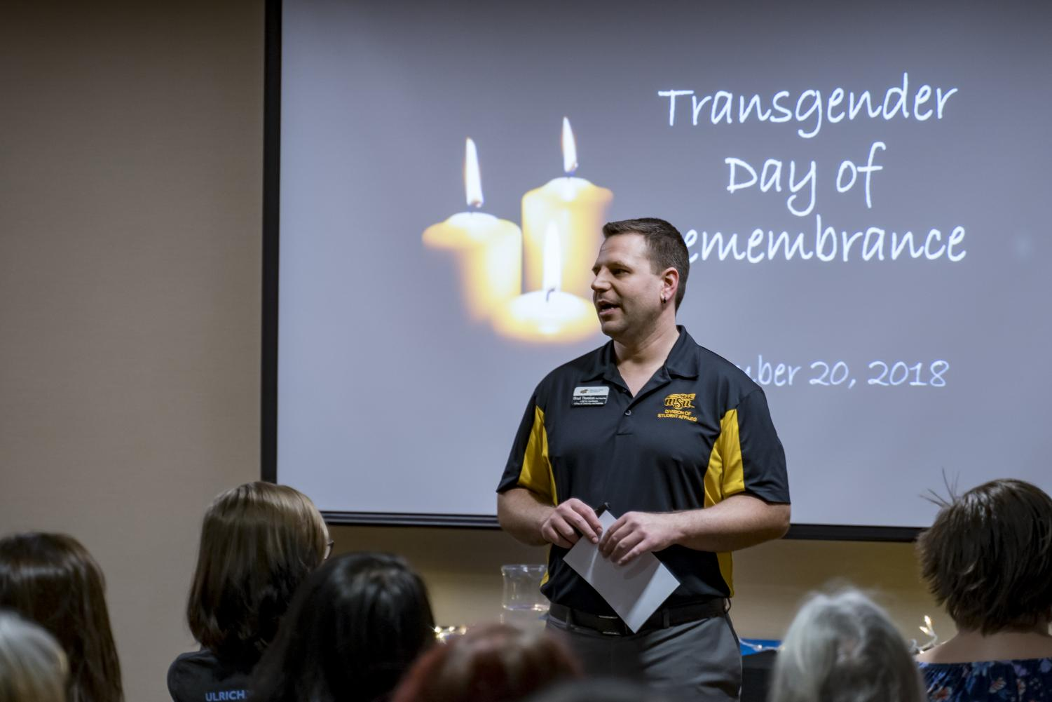 The director LGBTQ Coordinator for WSU, Bradley Thomison, speaks during Transgender Day of Remembrance observance at WSU.