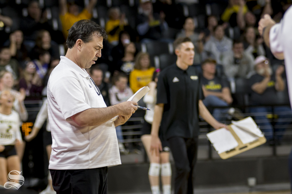 Wichita State's Head Coach, Chris Lamb, prepares for a time-out during their game against Tulsa on Wednesday evening at Koch Arena.