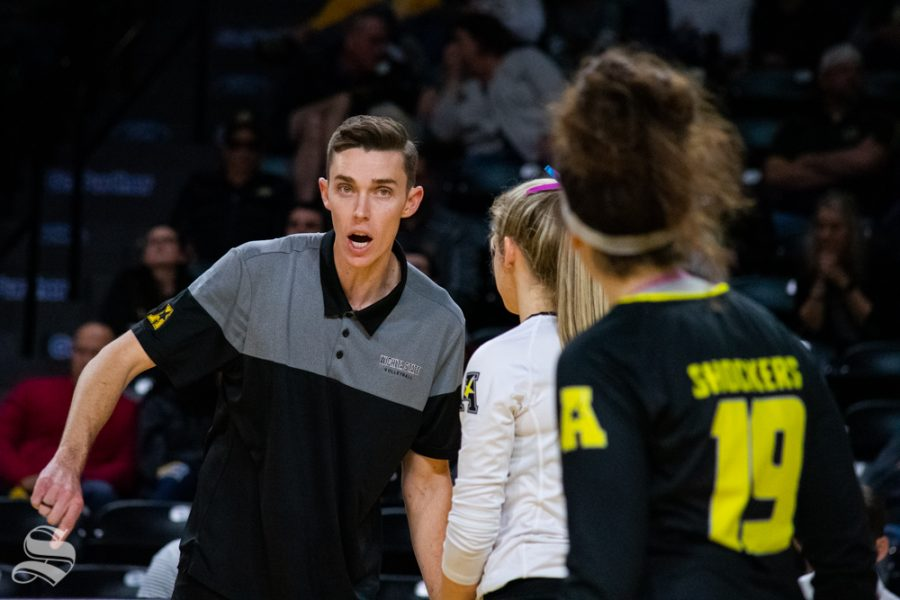 Wichita+State%27s+Assistant+Coach+Austin+Hosto+speaks+to+Jordan+Roberts+and+Giorgia+Civita+during+their+game+against+North+Texas+in+Koch+Arena+on+November+24.