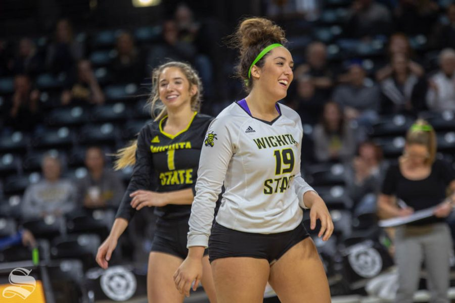 Wichita+State%27s+Giorgia+Civita+celebrates.+Wichita+State+lost+to+Southern+Methodist+in+three+sets+Sunday+at+Charles+Koch+Arena.