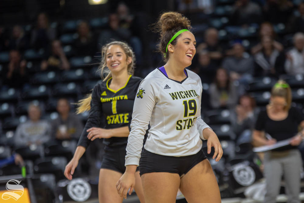 Wichita State's Giorgia Civita celebrates. Wichita State lost to Southern Methodist in three sets Sunday at Charles Koch Arena.