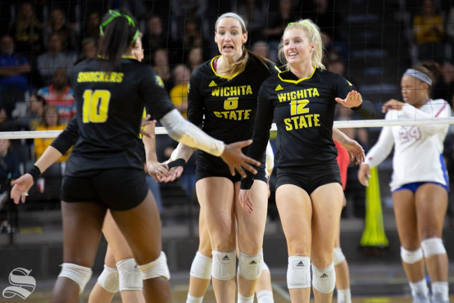 Wichita+State%27s+Emma+Wright+%28left%29+and+Regan+Stiawalt+%28right%29+celebrate.+Wichita+State+lost+to+Southern+Methodist+in+three+sets+Sunday+at+Charles+Koch+Arena.