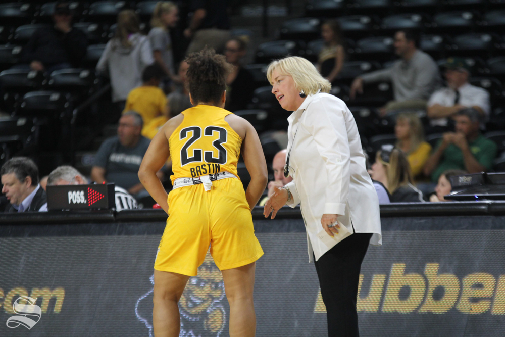 Women%27s+basketball+head+coach+Keitha+Adams+instructs+freshman+guard+Seraphine+Bastin+before+she+heads+out+to+the+court.