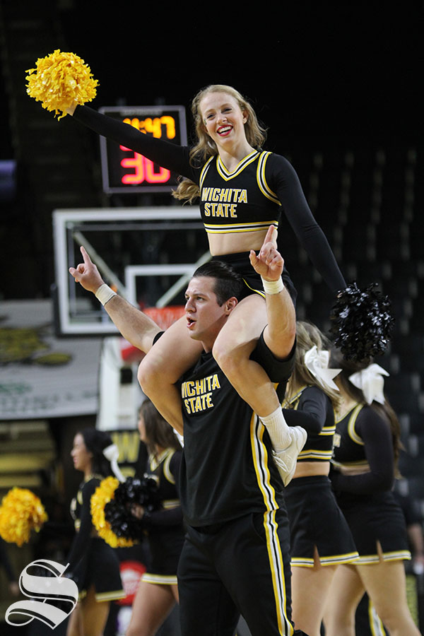 The+Wichita+State+Spirit+Squad+perform+during+a+timeout+at+the+women%27s+exhibition+game+on+Nov.+1.