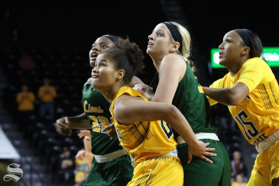 Blocking their opponents, Seraphine Bastin and Jaida Hampton support eachother during  the exhibition game against Missouri Southern State on November 1.